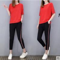 休闲套装女户外新品网红同款五分袖纯棉运动服大码跑步服时尚九分裤两件套