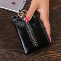 新款卡包零钱包多功能女士真皮钥匙包迷你大容量拉链牛皮小锁匙包