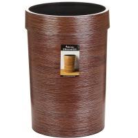 [当当自营]顺美 创意仿原木纹路圆形塑料压边垃圾桶 家用厨房客厅垃圾桶 大号SM-2949 棕色