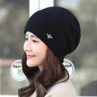 韩版护耳时尚韩国百搭套头月子帽帽子女针织帽保暖毛线帽