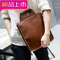 2018新款手提包男竖款商务公文男士包包休闲男包皮包简约皮 咖啡色 全场满2件送手包