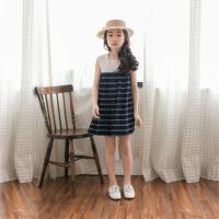 韩国童装连衣裙儿童沙滩裙海边度假条纹女童背心宽松亲子装母女装