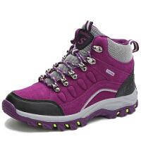 秋冬季高帮登山鞋女防水防滑户外徒步鞋情侣加绒棉鞋运动旅游男鞋 紫色单鞋
