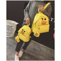 小熊双肩包女可爱萌卡通韩版潮pu皮旅行背包儿童书包撞色小学生包