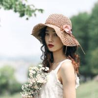可折叠遮阳帽甜美沙滩出游休闲凉帽草帽女珍珠花朵钩针太阳帽