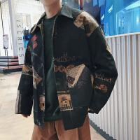 短款毛呢大衣外套男加肥加大码宽松厚衬衫潮胖春冬装复古