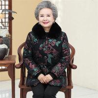 中老年棉衣 中老年人冬装大毛领棉衣2020冬季新款妈妈加厚外套奶奶装加绒棉袄老太太棉服