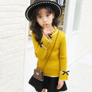 乌龟先森 儿童毛衣 女童花边领长袖单色套头上衣秋季韩版新款时尚休闲中大童款式百搭针织衫