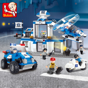 【当当自营】小鲁班城市特警系列儿童益智拼装积木玩具 特警应急中心M38-B0191