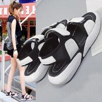 新款百搭凉鞋女士平底休闲凉鞋 韩版学生运动风女鞋子时尚沙滩鞋女