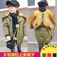 **儿童装男童女童韩版加厚中长款羽绒棉衣2018冬装新款