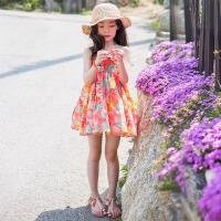 韩版童装连衣裙儿童沙滩裙海边度假女童碎花挂脖裙女大童吊带裙