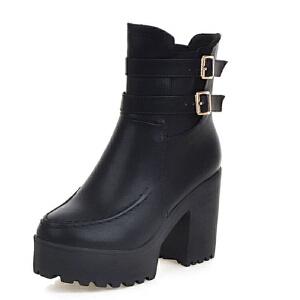 ELEISE美国艾蕾莎新品秋冬175-6-6英伦超纤皮高跟女士短靴
