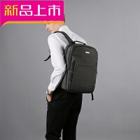 商务背包男士双肩包韩版书包旅行15.6寸电脑双肩包时尚潮流中学生 黑色 偏深灰色