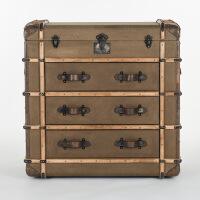 奇居良品 美式家具牛皮拼接卡其色防水麻质3抽屉斗柜/玄关柜