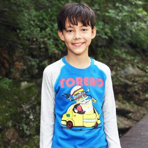探路者Toread2017秋男童拼色印花圆领套头长袖T恤