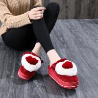 棉拖女高跟秋冬外穿时尚厚底加绒学生可爱室内家居毛拖鞋