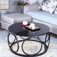北欧客厅钢化玻璃圆形茶几铁艺时尚创意大小户型桌子边几简约现代定制 黑 色 组装