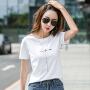 Coolmuch女士夏季简约百搭宽松刺绣圆领短袖T恤衫ZRK225
