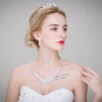 新娘饰品三件套装韩式项链耳环皇冠婚礼结婚纱配饰 图片色 均码