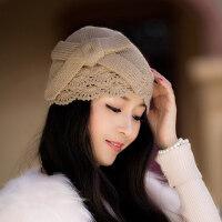 女帽子潮蕾丝镂空手工针织帽瓜皮帽套头蝴蝶结包头毛线帽
