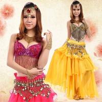 新品性感肚皮舞套装演出服 印度舞蹈服装 钉珠流苏文胸裙
