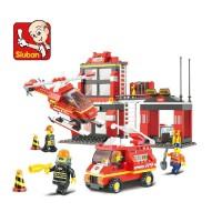 小鲁班拼装玩具 益智塑料积木玩具 男孩儿童玩具消防局