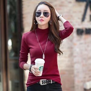 时尚韩版修身纯色女士长袖t恤 半高领长袖女装T恤上衣