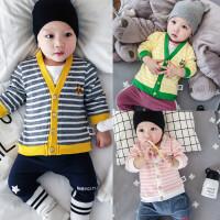 婴儿春秋季上衣3新生6开衫9长袖5条纹外套2男女宝宝春装0-1岁新款
