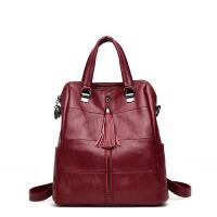 多功能双肩包背包女士两用新款韩版手提包软皮三用旅行单肩斜挎包 酒红色 赠*品