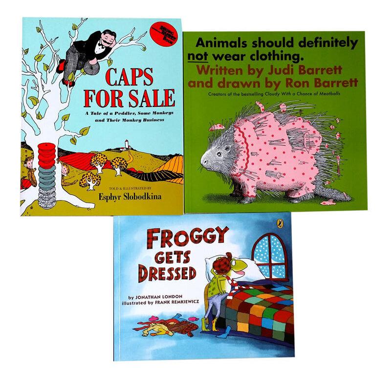 吴敏兰绘本123衣服 变变变clothing推荐3本套装Froggy Gets Dressed caps for sale卖帽子 Animals Should Definitely Not Wear 家长们推荐的经典有趣故事书
