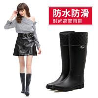 时尚女士高筒雨鞋水靴中跟 春秋成人水鞋防水外穿下雨鞋胶鞋套鞋女