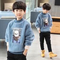 中大童半高领打底衫潮儿童装男童秋冬装加绒套头毛衣