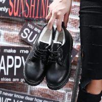 韩版百搭复古英伦风黑色学生鞋女加绒小皮鞋潮秋冬季新款单鞋