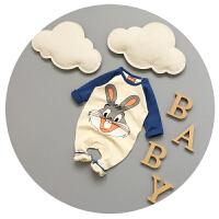 新生儿连体衣春秋纯棉3-6-9个月男宝宝长袖卡通哈衣婴儿衣服秋季
