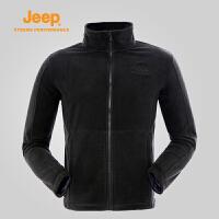 【年终限时特惠】Jeep/吉普 秋冬男户外抓绒衣开衫外套单穿夹克J662011401