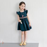 韩版儿童沙滩裙女童海边度假连衣裙宝宝背心短裙中大童纯棉夏裙子