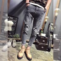 夏季九分裤男牛仔新款破洞卷边纯棉9分裤子潮做旧青年修身小脚裤