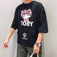 8夏季新款男士原宿趣味猫咪印花个性口袋卫衣纯棉短袖T恤