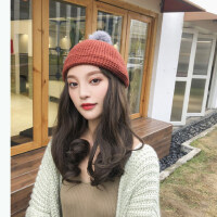 时尚潮百搭保暖贝雷帽 甜美可爱兔毛帽子女 韩版纯色针织毛线帽女
