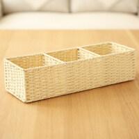 日式zakka收纳盒桌面杂物盒玄关钥匙置物盒零钱收纳盒茶几收纳盘 三格杂物筐-