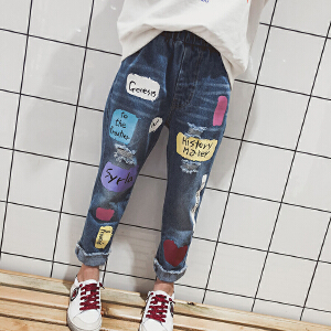 乌龟先森 儿童休闲裤 男童韩版春款儿童男孩裤子中大童拼接长裤时尚童装