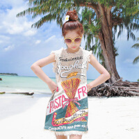 女童沙滩裙大童裙子夏2018新款海边度假波西米亚背心裙无袖连衣裙
