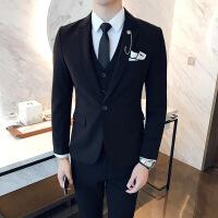 男士�Y婚三件套西�b�n式修身英���L青年休�e西服套�b新郎伴郎�Y服