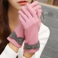 可触摸屏蝴蝶结保暖手套加绒加厚保暖手套女韩版分指手套