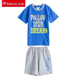 探路者童装 儿童套装中大童2017夏季新款男童短袖T恤短裤两件套潮