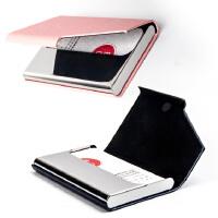 商务大容量女式男士名片夹不锈钢皮革名片盒年会万博客户端最新版刻字定制logo