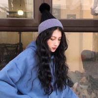 时尚毛球针织冷帽潮 保暖百搭拼色帽子 女加绒加厚保毛球帽子 韩版撞色毛线帽子女