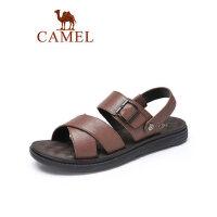 camel骆驼真皮商务凉鞋男2019夏季新款头层牛皮沙滩鞋休闲户外透气凉鞋