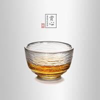 当当优品 锤目纹品茗杯-赏心 光阴系列 描金加厚玻璃茶杯 功夫茶具 50ml